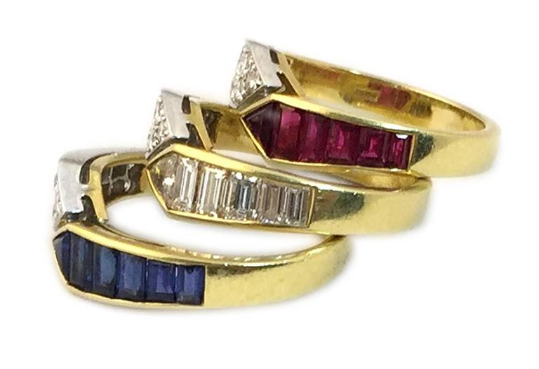 Women's Triple Sapphire Ruby Diamond gold Ring Combination  For Sale