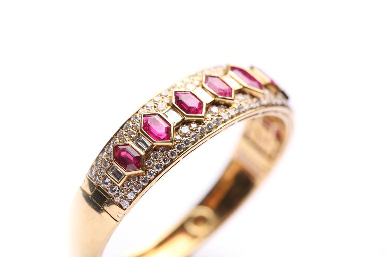 Bulgari Iconic Ruby Diamond Bangle Bracelet In Excellent Condition For Sale In New York, NY