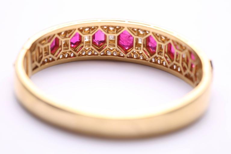 Women's Bulgari Iconic Ruby Diamond Bangle Bracelet For Sale
