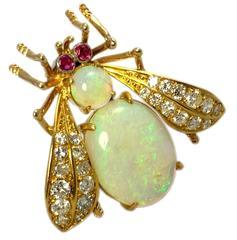 Van Cleef & Arpels Opal Ruby Diamond Gold Bug Pin