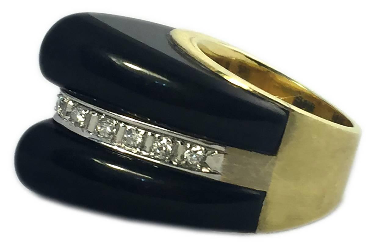 Onyx Diamond Gold Pyramid Ring At 1stdibs