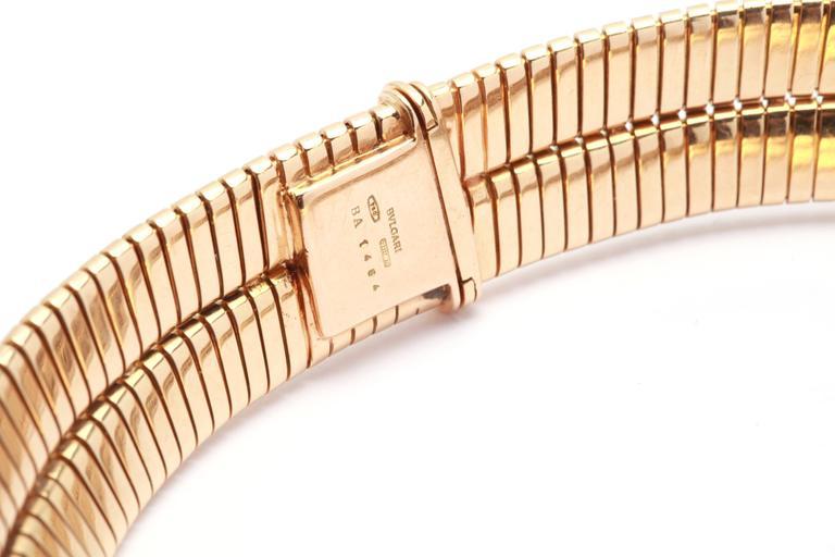 Women's 1970s Bulgari Gold Tubogas Necklace  For Sale