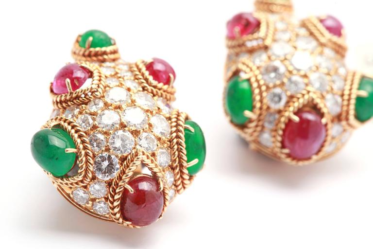Van Cleef & Arpels Emerald Ruby Diamond Gold Ear Clips 4