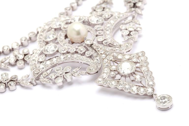 Belle Epoque Diamonds Natural Pearls Necklace  3