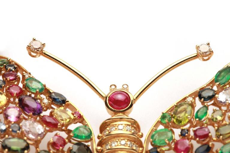 Impressive Sapphire Ruby Emerald Butterfly Brooch  3