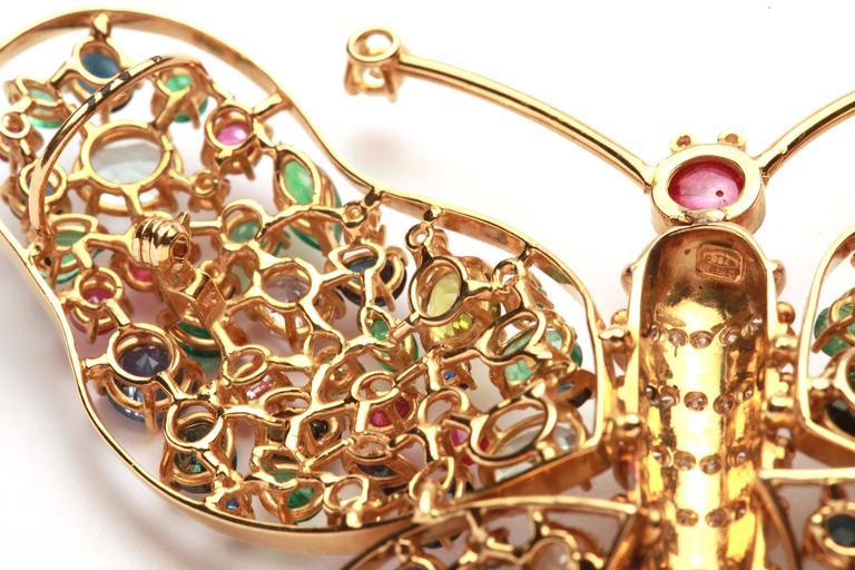 Women's or Men's Impressive Sapphire Ruby Emerald Butterfly Brooch  For Sale