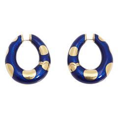 Bulgari Blue Enamel and Gold Hoop Earrings