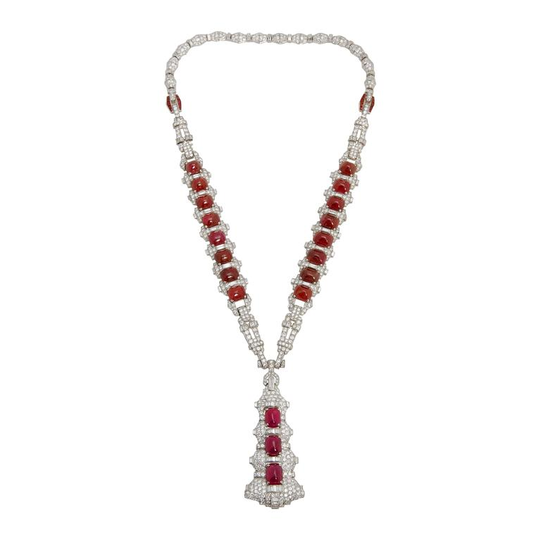Magnificent Art Deco Ruby Diamond Sautoir Necklace