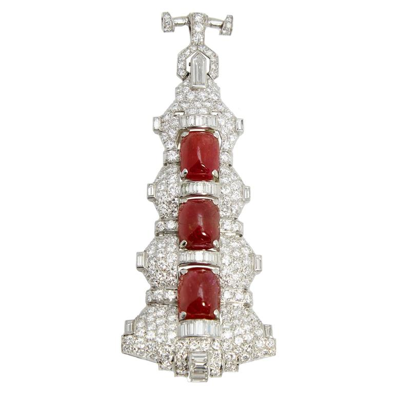Magnificent Art Deco Ruby Diamond Sautoir Necklace In Excellent Condition For Sale In New York, NY