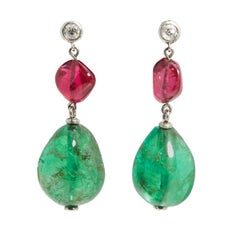 Important Colombian Emerald Red Spinel Diamond Ear Pendants