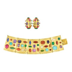 Sanz Multi-Color Stones Gold Set