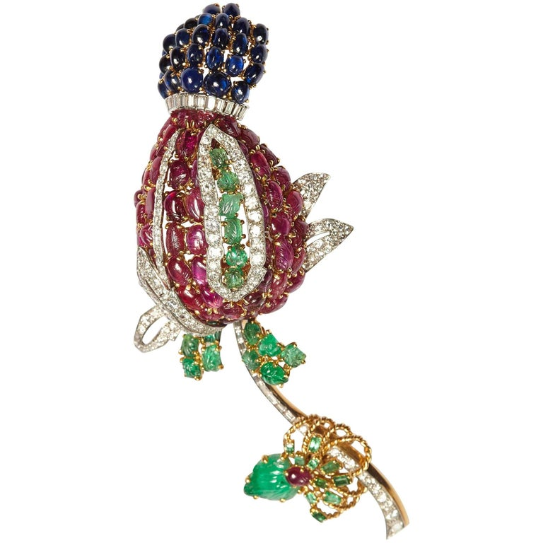 "Exceptional Large Cartier ""Tutti Frutti"" Flower Brooch For Sale"