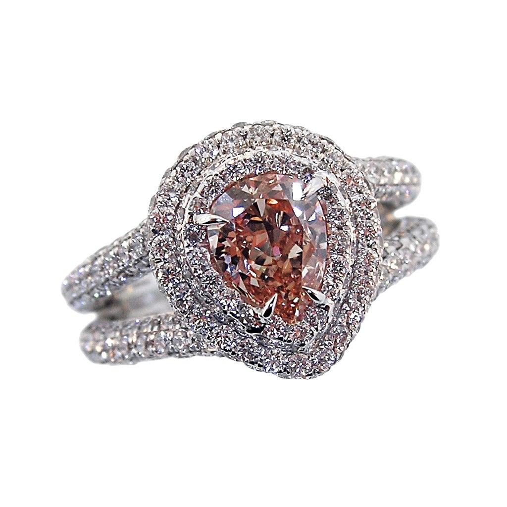 Rare Pink Diamond Platinum Ring at 1stdibs