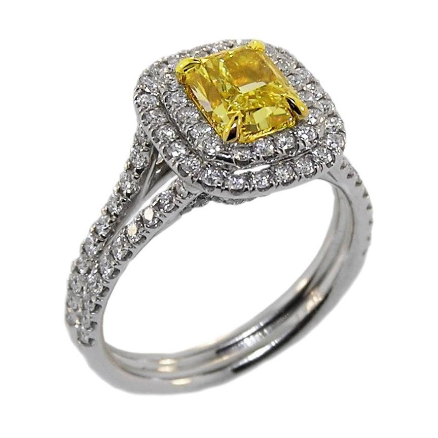 1 57 canary platinum ring for sale at 1stdibs
