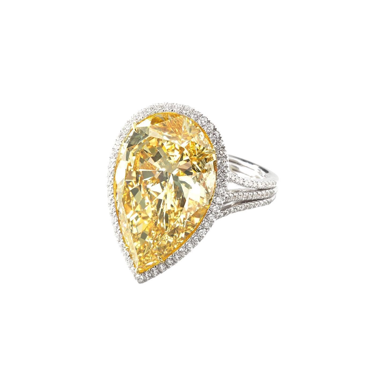 18 Carat Canary Diamond Platinum Ring Quot The Golden Idol