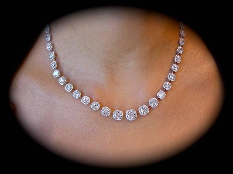 Beautiful Cushion Cut Diamond Necklace, 27 Carats Total! 4