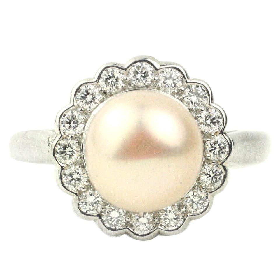 Julius Cohen Fresh Water Pearl, Diamond and Platinum Ring