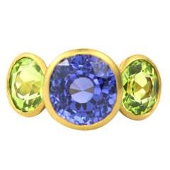 Peridot Sapphire Gold Three Stone Ring