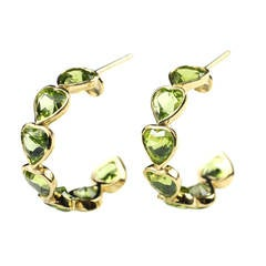 Gold and Heart Shaped Peridot Hoop Earrings