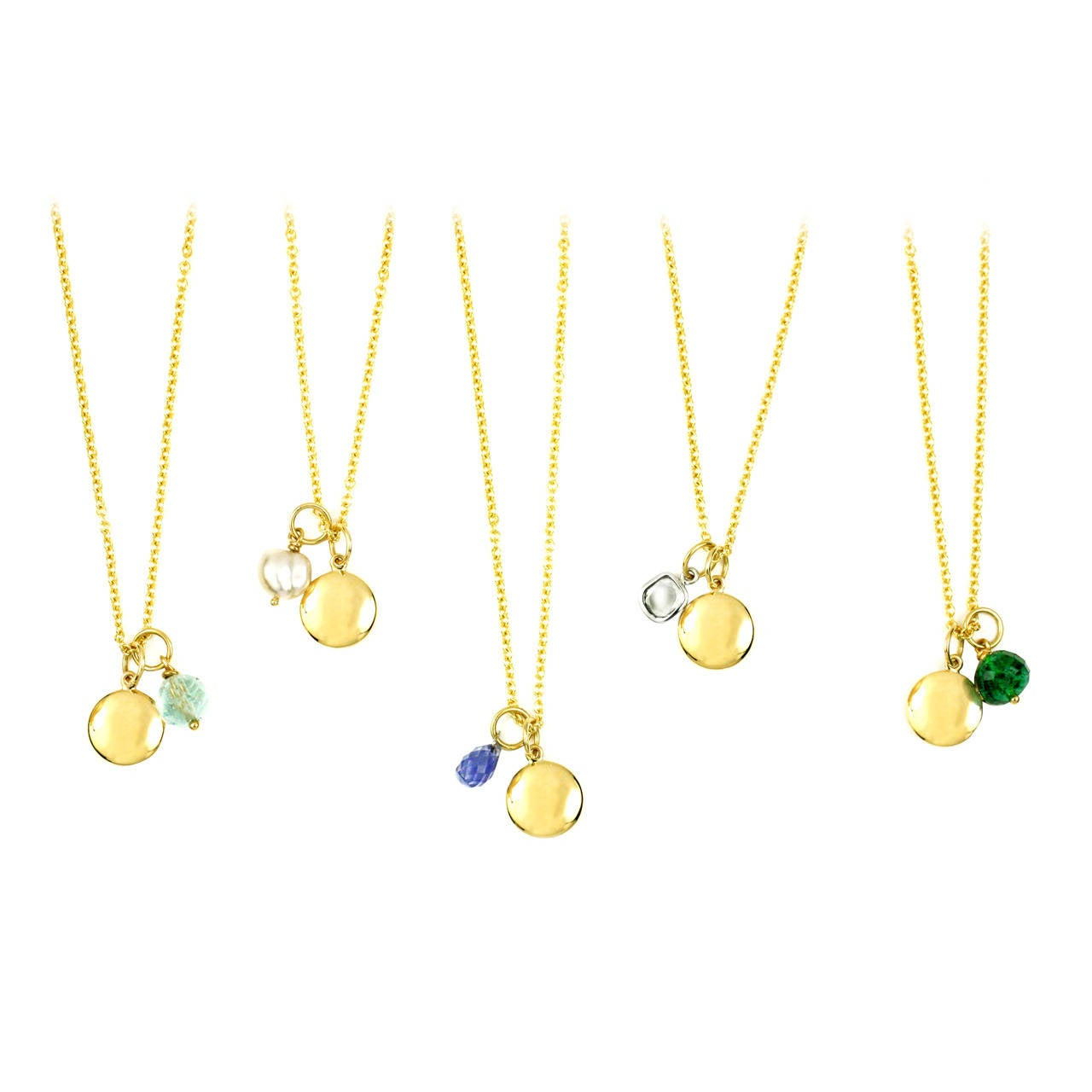 gold charm and birthstone charm necklace at 1stdibs