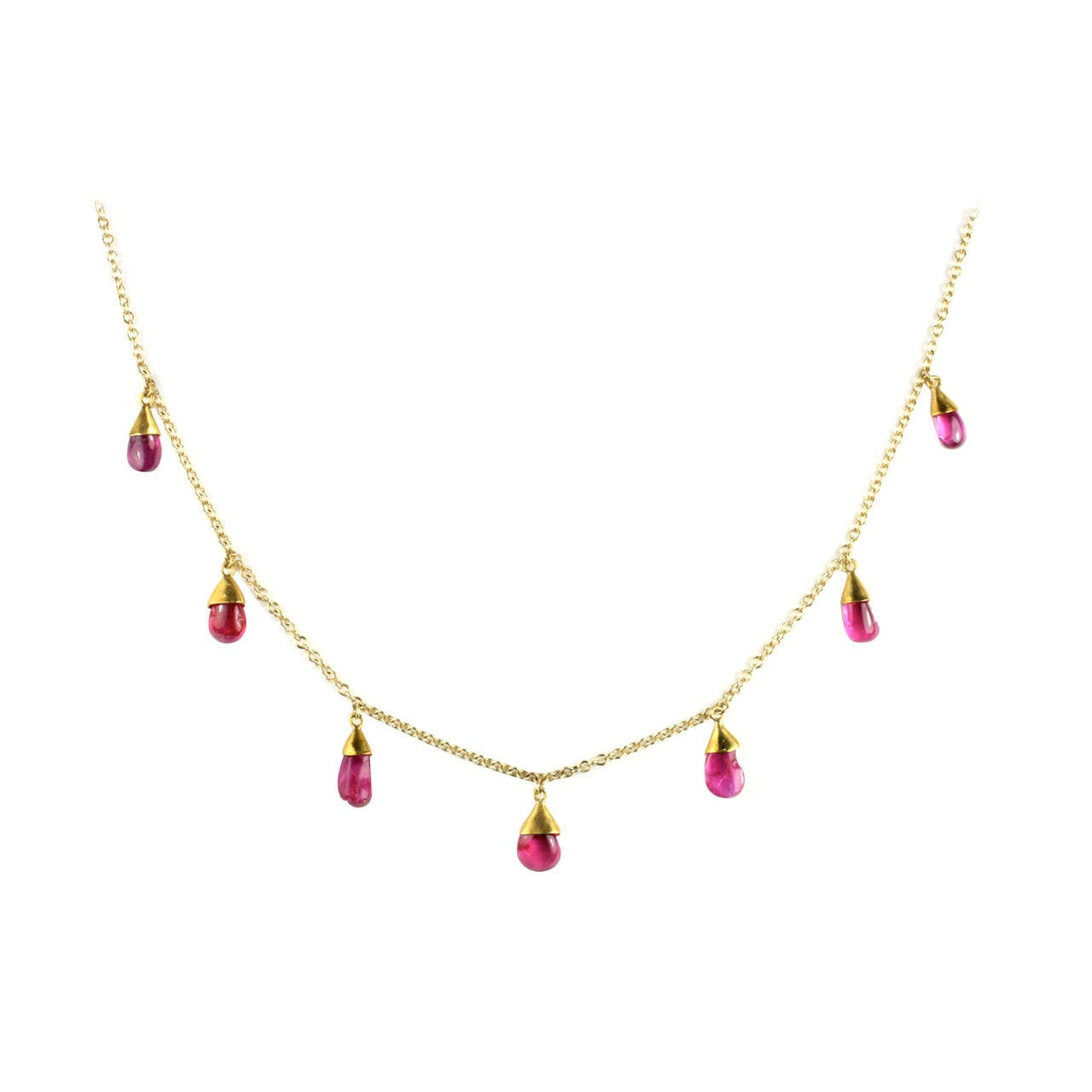 Julius Cohen Gold and Ruby Drop Necklace For Sale