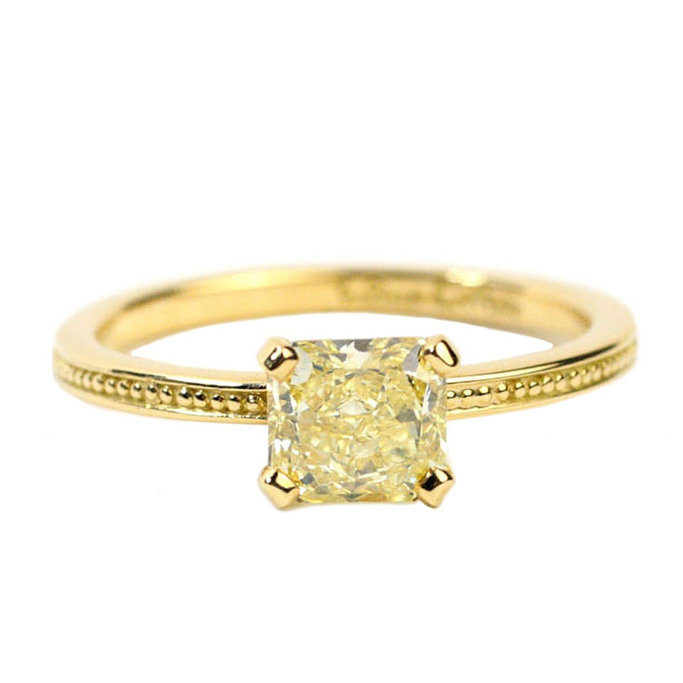 gold and fancy yellow granulated ring at