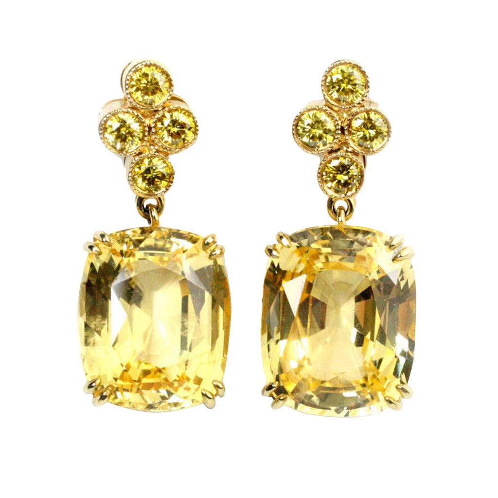 Gold Yellow Sapphire And Yellow Diamond Earrings At 1stdibs