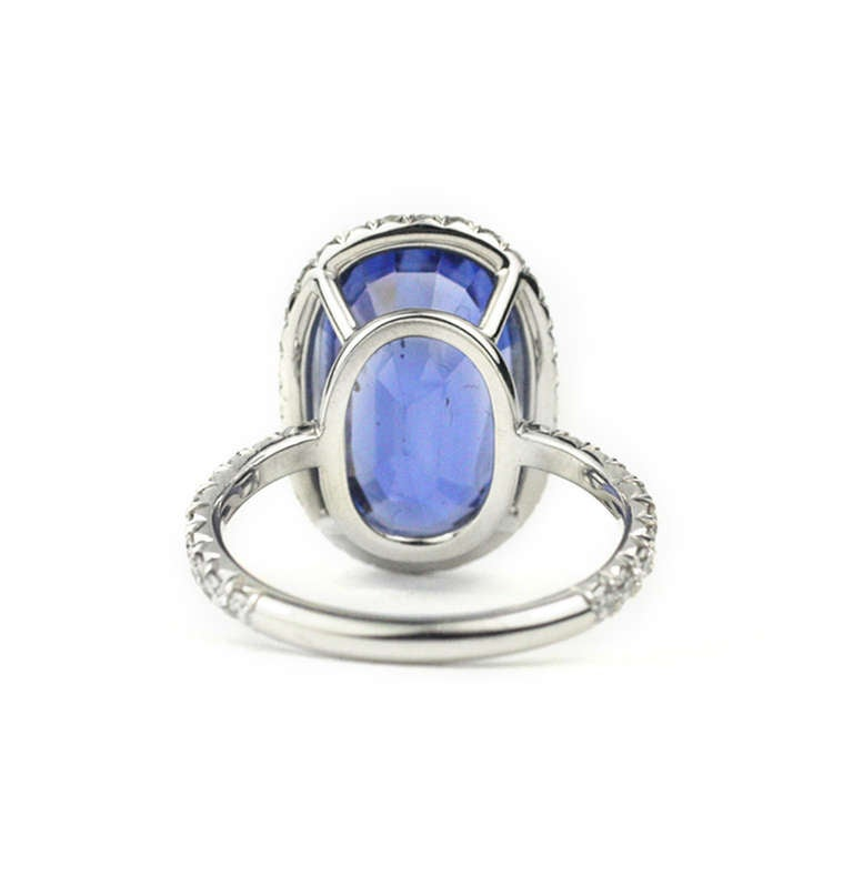 Julius Cohen Sapphire and Diamond Ring In As New Condition For Sale In Brooklyn, NY