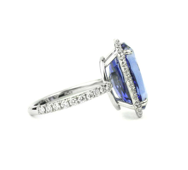 Contemporary Julius Cohen Sapphire and Diamond Ring For Sale