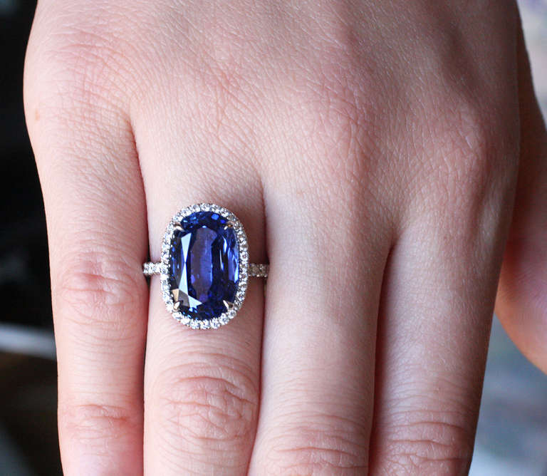 Julius Cohen Sapphire and Diamond Ring For Sale 2