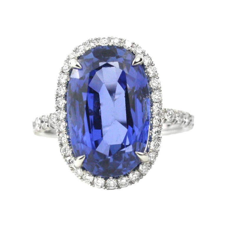 Julius Cohen Sapphire and Diamond Ring For Sale