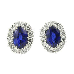 Julius Cohen Natural Sapphire & Diamond Earrings