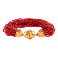 Gold and Spinel Bead Bracelet