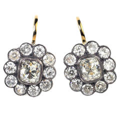 Julius Cohen Old Mine Cut Diamond Cluster Earrings