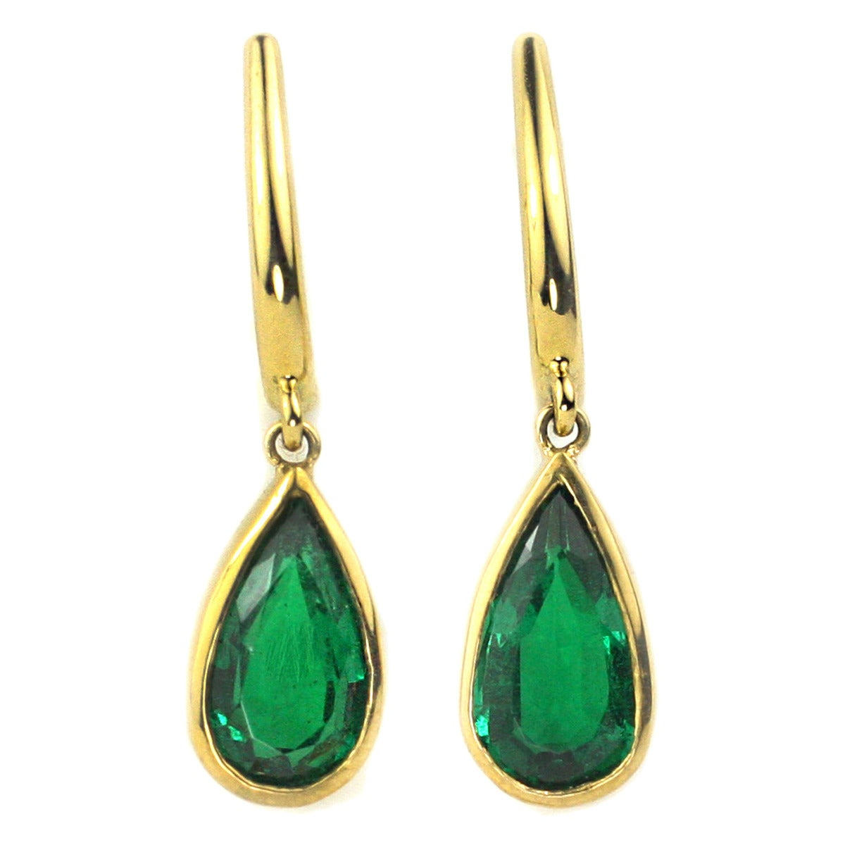Julius Cohen Pear Shaped Emerald Drop Earrings For