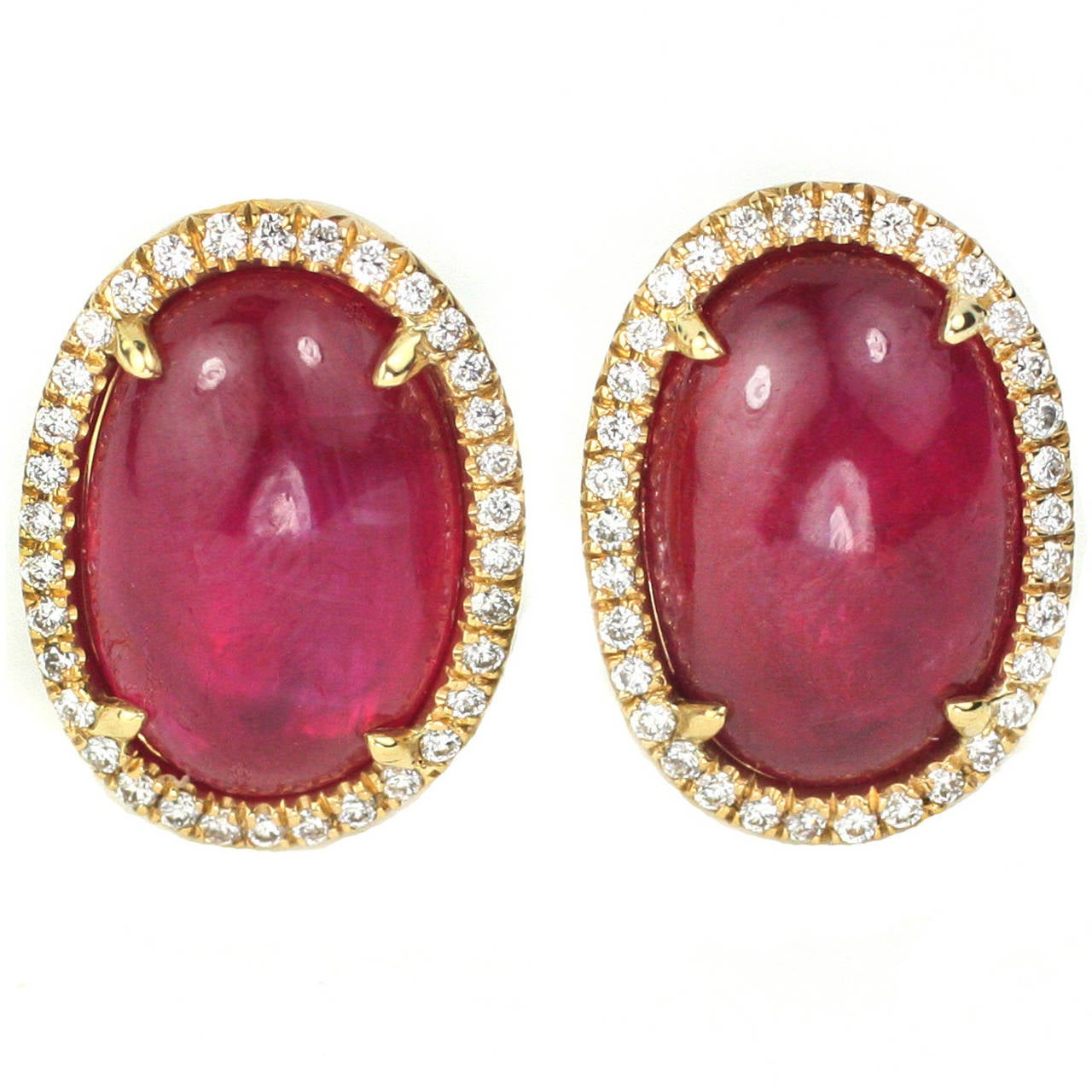 Natural Cabochon Ruby Diamond Gold Earrings 1