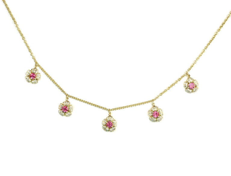 Julius Cohen Pink Tourmaline and Diamond Flower Necklace
