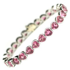 Julius Cohen Platinum and Heart Shaped Tourmaline Bracelet
