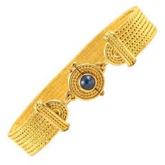 Woven Sapphire Gold Bracelet