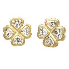 Heart Shaped Diamond Clover Earrings