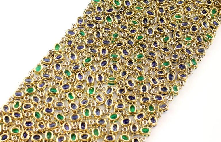Contemporary Julius Cohen Wide Diamond Emerald Sapphire Peacock Tapestry Bracelet For Sale