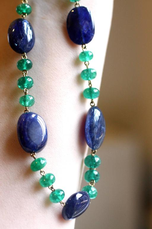 Julius Cohen Sapphire and Emerald Bead Necklace 2