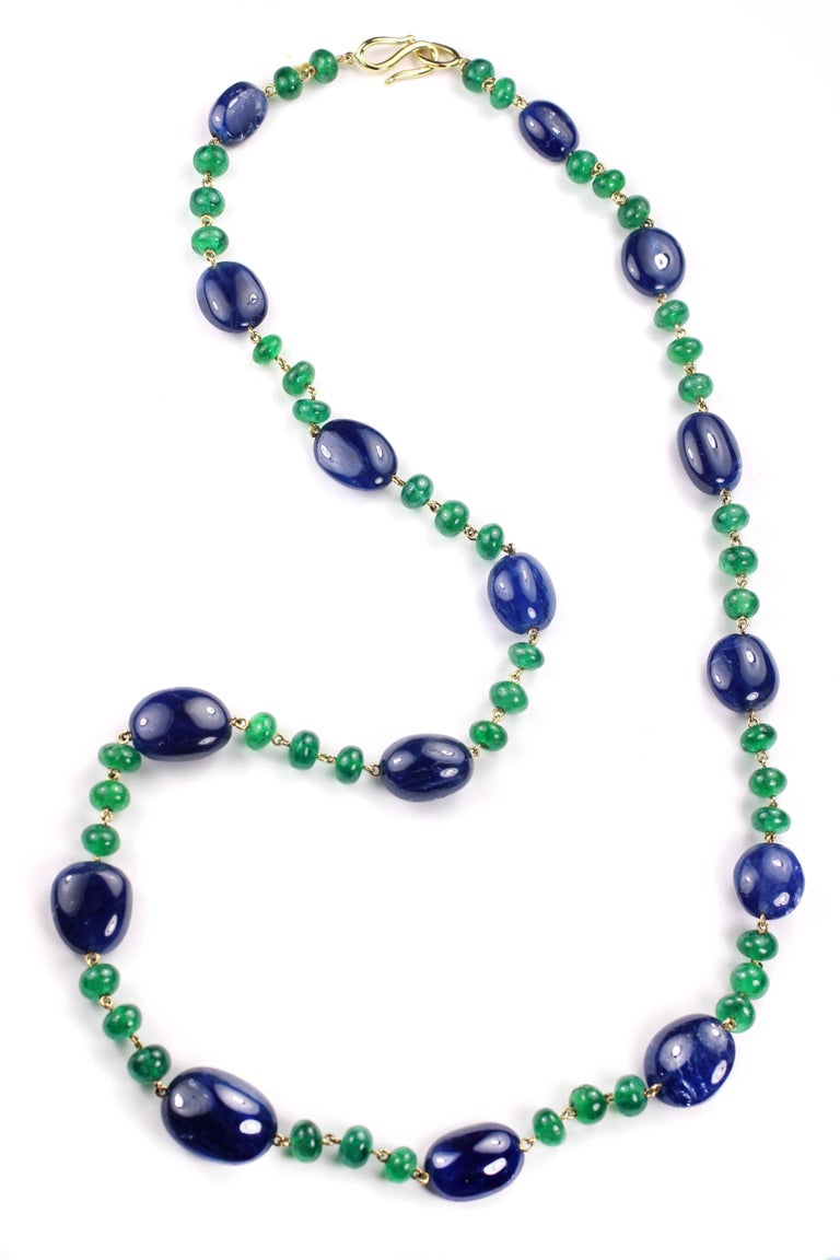 Julius Cohen Sapphire and Emerald Bead Necklace 3