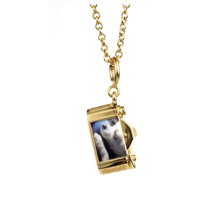 Julius cohen gold and platinum vintage camera charm necklace for this beautifully made solid 18 kt gold camera charm features a turning adjustable focus aloadofball Choice Image