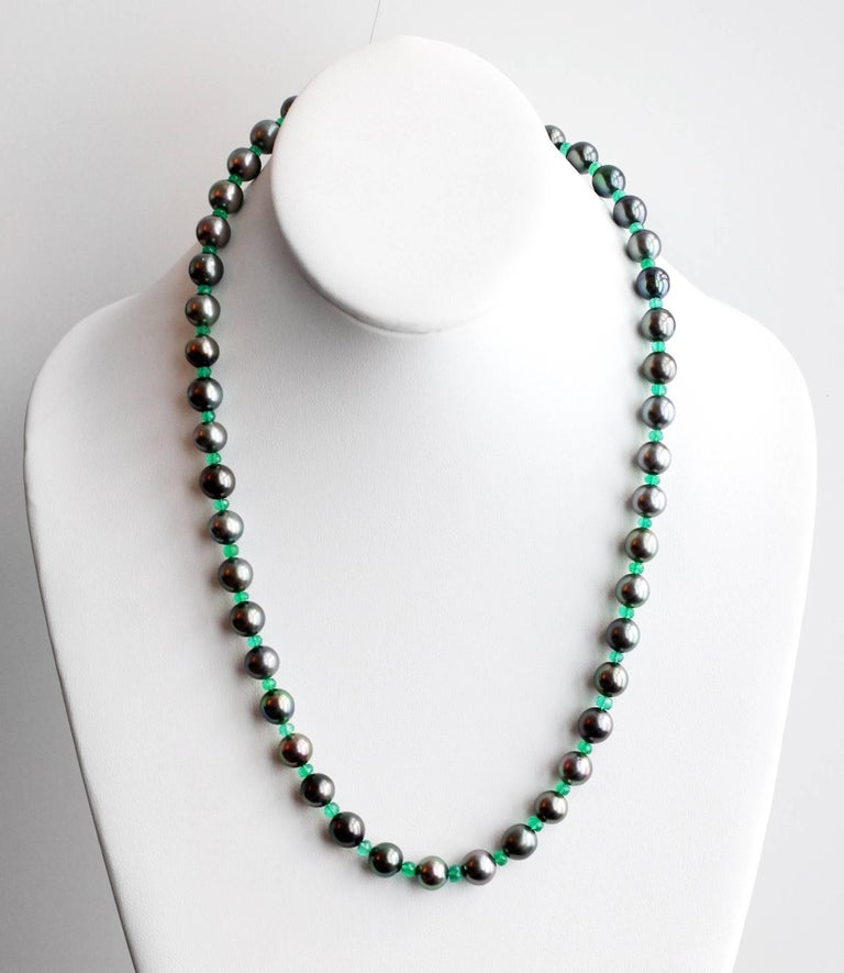 Julius Cohen Black Pearl and Emerald Bead Necklace 2