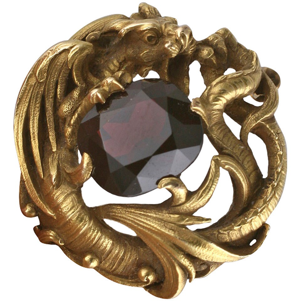 Gustav Manz for F. Walter Lawrence Art Nouveau Chimera Brooch 1