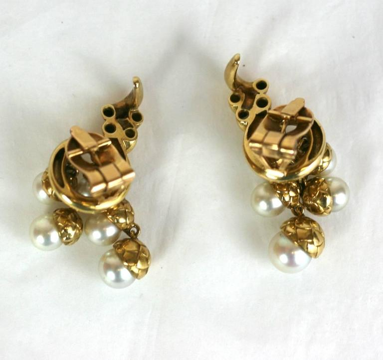 French Pearl Gold Acorn Cornucopia Earrings For Sale 1