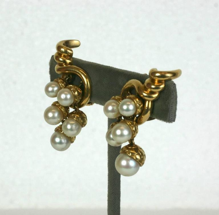 Charming French Pearl Acorn Cluster Earrings with clip back fittings. Each cornucopia motif holds 5 cultured pearls of graduating sizes, each topped with a golden acorn