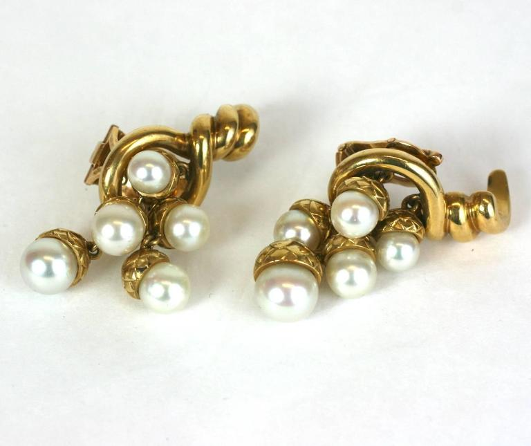 Women's French Pearl Gold Acorn Cornucopia Earrings For Sale