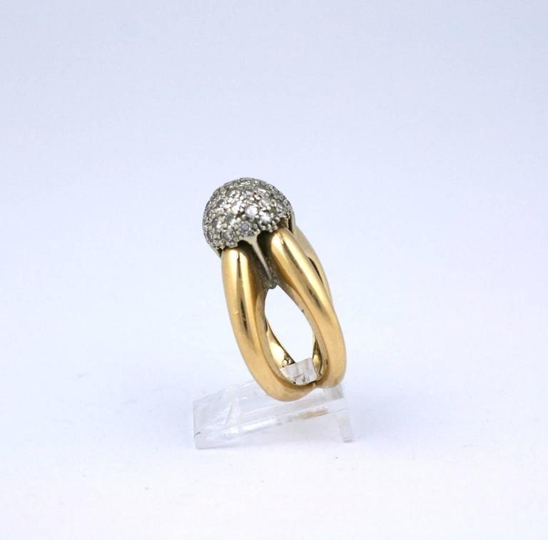 Modernist Pave Diamond Ball Ring in 14k gold. Striking
